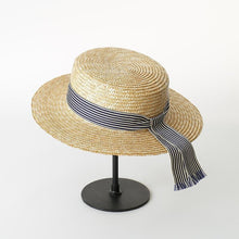 Load image into Gallery viewer, wantmustneed.com / Handmade Boater Sun Hat | Fine Straw Olivia [variant_title]