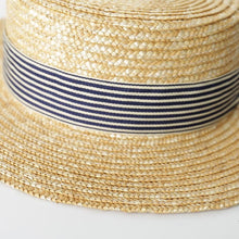 Load image into Gallery viewer, Handmade Boater Sun Hat | Fine Straw Olivia_wantmustneed.com