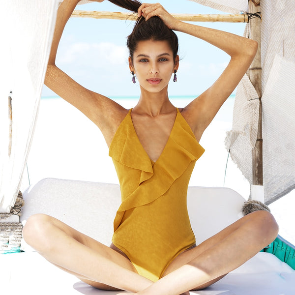 Padded One-piece Swimsuit | Yellow Solid Ruffled_wantmustneed.com