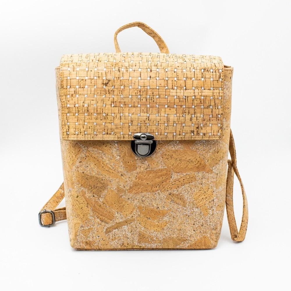 Handmade Natural Cork Backpack | Silver Grid_wantmustneed.com