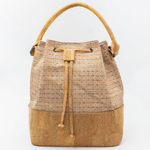 Load image into Gallery viewer, Handmade Natural Cork Bucket Bag | Silver Grid_wantmustneed.com