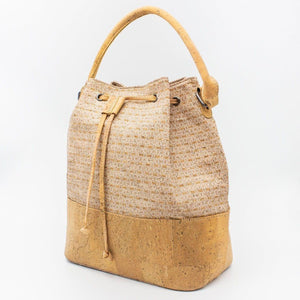 Handmade Natural Cork Bucket Bag | Silver Grid_wantmustneed.com