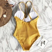 Load image into Gallery viewer, Padded One-piece Swimsuit | Yellow Solid Ruffled_wantmustneed.com