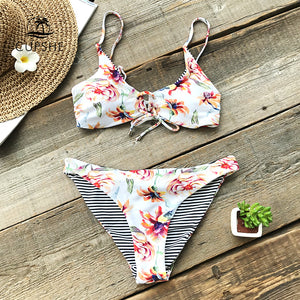 Padded Reversible Bikini | Floral Print And Striped_wantmustneed.com