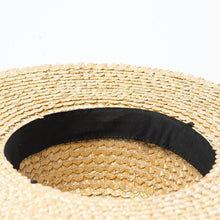Load image into Gallery viewer, Handmade Boater Sun Hat | Fine Straw Mila_wantmustneed.com
