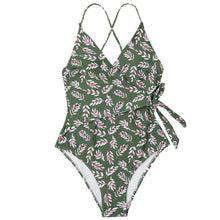 Load image into Gallery viewer, wantmustneed.com / Padded One-piece Swimsuit | Pink And Green Leaf Print Wrap [variant_title]