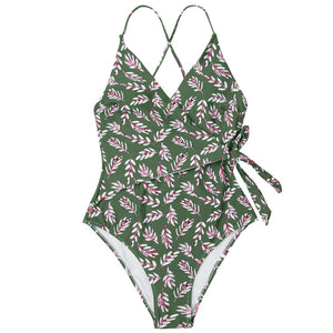 wantmustneed.com / Padded One-piece Swimsuit | Pink And Green Leaf Print Wrap [variant_title]