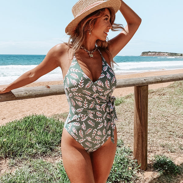wantmustneed.com / Padded One-piece Swimsuit | Pink And Green Leaf Print Wrap Green / L
