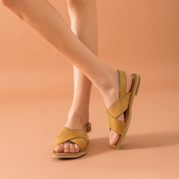 Genuine Leather Sandals | Buckle Strap Ember_wantmustneed.com