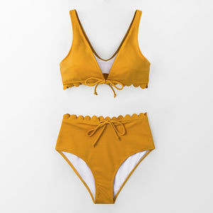 Padded High-Waisted Bikini | Yellow Tie-Front_wantmustneed.com