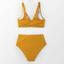 Load image into Gallery viewer, wantmustneed.com / Padded High-Waisted Bikini | Yellow Tie-Front [variant_title]