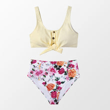 Load image into Gallery viewer, wantmustneed.com / Padded High-Waisted Bikini | Tie-Front Tank And Boho Floral Multi / L