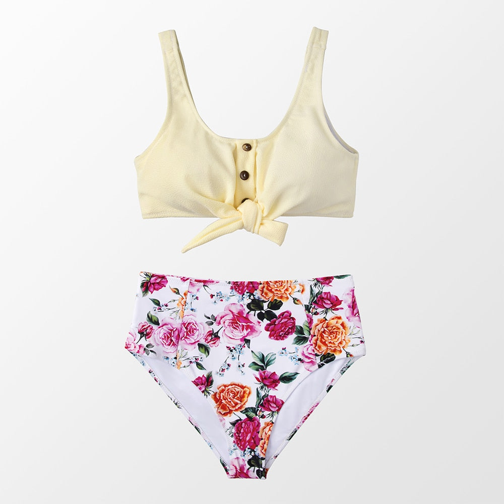 wantmustneed.com / Padded High-Waisted Bikini | Tie-Front Tank And Boho Floral Multi / L