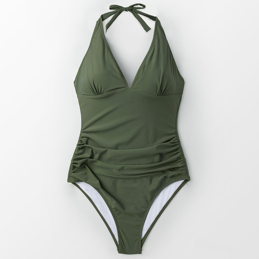 wantmustneed.com / Padded One-piece Swimsuit | Mossy Green Ruched Army green / L
