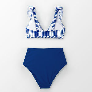 wantmustneed.com / Padded High-Waisted Bikini | Blue Striped And Ruffles [variant_title]