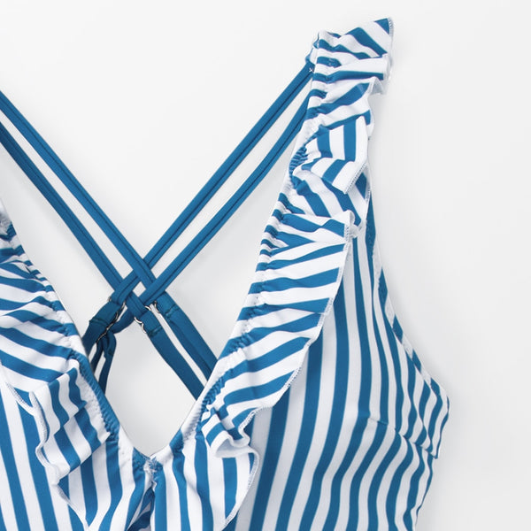 Padded One-piece Swimsuit | Blue And White Stripe Ruffled_wantmustneed.com