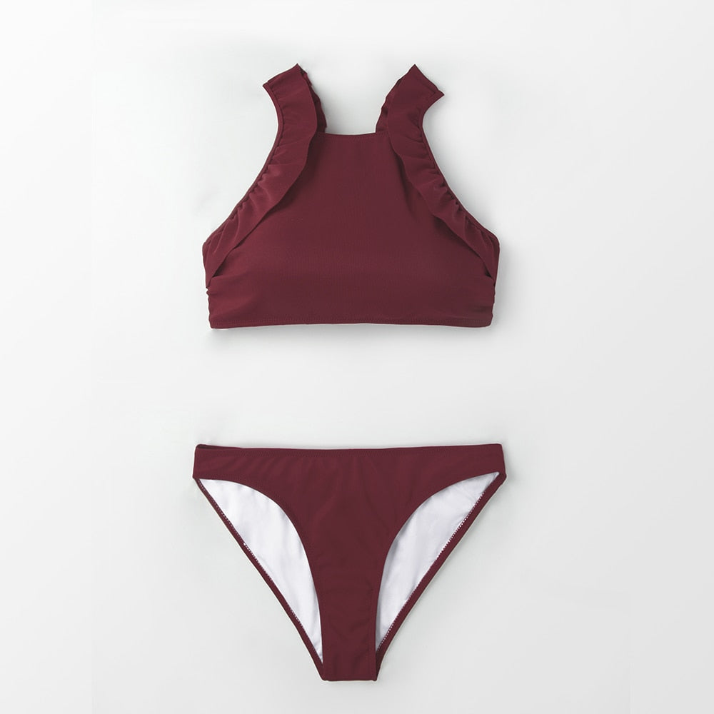 wantmustneed.com / Padded Bikini | High-Neck Burgundy Ruffled Red / L