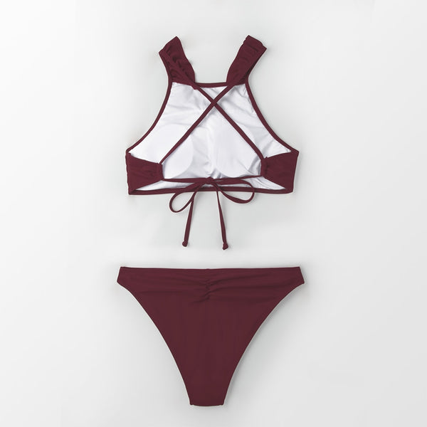 Padded Bikini | High-Neck Burgundy Ruffled_wantmustneed.com