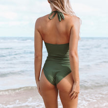 Load image into Gallery viewer, Padded One-piece Swimsuit | Mossy Green Ruched_wantmustneed.com