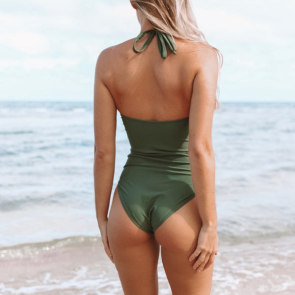 Padded One-piece Swimsuit | Mossy Green Ruched_wantmustneed.com