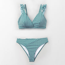Load image into Gallery viewer, Padded Bikini | Stripe Double Straps Ruffle_wantmustneed.com