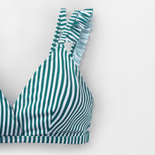 Load image into Gallery viewer, wantmustneed.com / Padded Bikini | Stripe Double Straps Ruffle [variant_title]