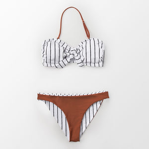 Padded Bikini | Black And White Striped Caramel_wantmustneed.com