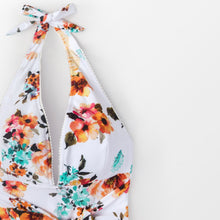 Load image into Gallery viewer, Padded One-Piece Swimsuit | Backless Tie Waist Floral_wantmustneed.com