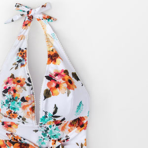 Padded One-Piece Swimsuit | Backless Tie Waist Floral_wantmustneed.com