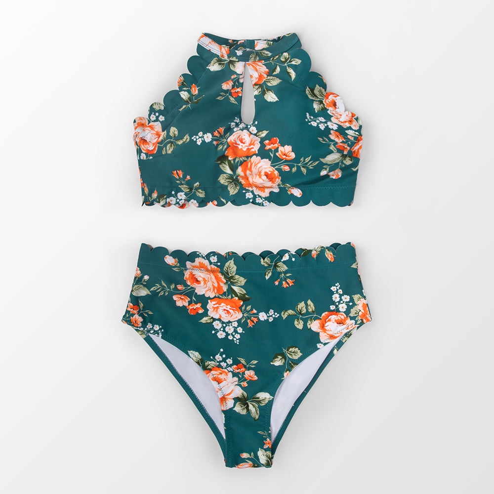 wantmustneed.com / Padded High-Waisted Bikini | Scalloped Floral Bandeau Green / L