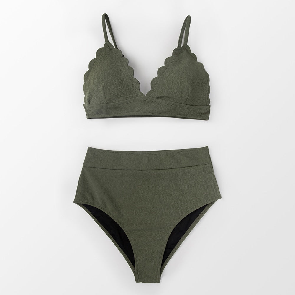 wantmustneed.com / Padded High-Waisted Bikini | Olive Green Scalloped Army green / L