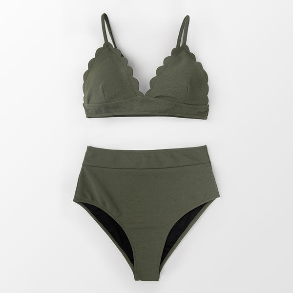 Padded High-Waisted Bikini | Olive Green Scalloped_wantmustneed.com