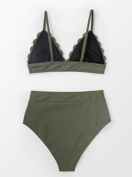 Padded High-Waisted Bikini | Olive Green Scalloped