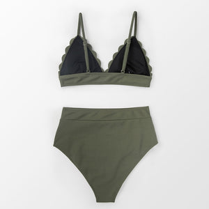 wantmustneed.com / Padded High-Waisted Bikini | Olive Green Scalloped [variant_title]