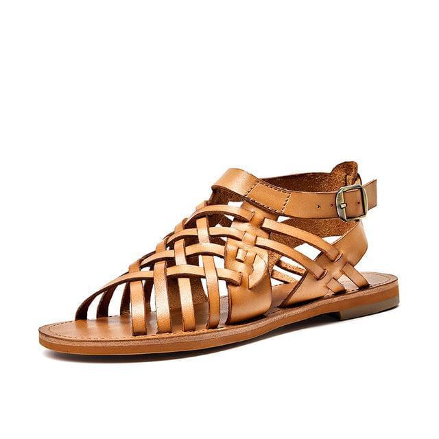 wantmustneed.com / Genuine Leather Sandals | Gladiator Hayden Brownish-Yellow / 5