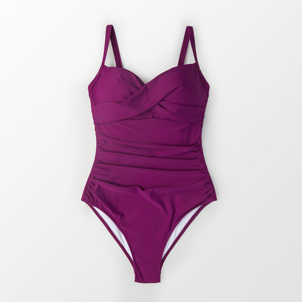 wantmustneed.com / Padded One-Piece Swimsuit | Berry Purple Ruched Purple / L