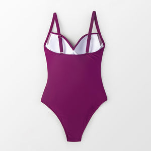 Padded One-Piece Swimsuit | Berry Purple Ruched_wantmustneed.com