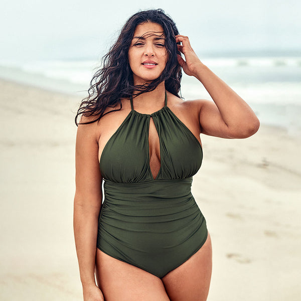 wantmustneed.com / Plus Size One-Piece Swimsuit | Olive Halter Cut-out Olive / L