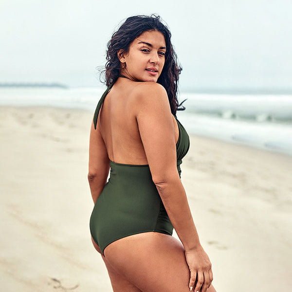 Plus Size One-Piece Swimsuit | Olive Halter Cut-out_wantmustneed.com