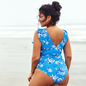 Plus Size One Piece Swimsuit | Blue Ruffled Floral_wantmustneed.com