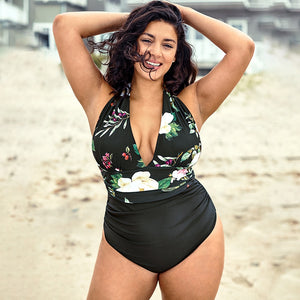 Plus Size One Piece Swimsuit | Floral Leaf V-Neck_wantmustneed.com