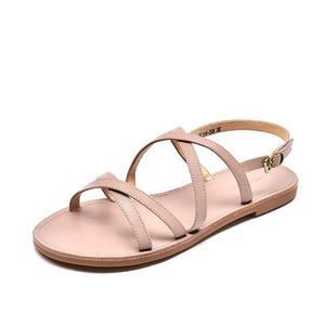 wantmustneed.com / Genuine Leather Sandals | Cross-Tied Melanie Pink / 5