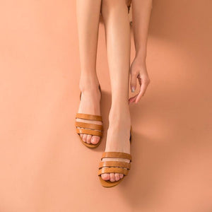 Genuine Leather Sandals | Heel Slip On Hailey_wantmustneed.com