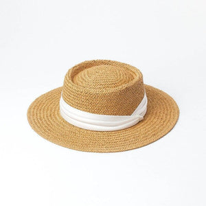 wantmustneed.com / Handmade Boater Sun Hat | Light Paper Straw Amber White Trim