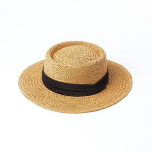 Handmade Boater Sun Hat | Light Paper Straw Amber_wantmustneed.com