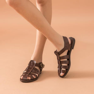 Genuine Leather Sandals | Flat Heel Samara_wantmustneed.com