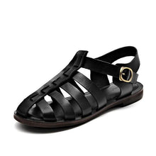 Load image into Gallery viewer, wantmustneed.com / Genuine Leather Sandals | Flat Heel Samara Black / 5