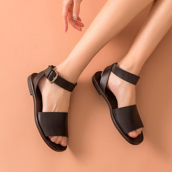 Genuine Leather Sandals |  Ankle Strap Izabella_wantmustneed.com