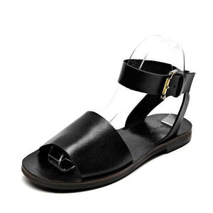 wantmustneed.com / Genuine Leather Sandals |  Ankle Strap Izabella Black / 5