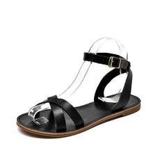 Load image into Gallery viewer, wantmustneed.com / Genuine Leather Sandals | Cross-Tied Adelyn Black / 5